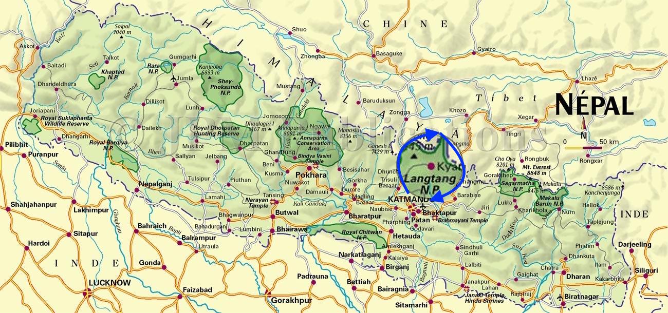 carte parc Langtang