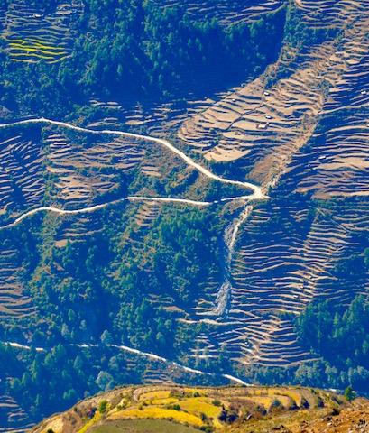 Lacet montagneux Vallée Langtang